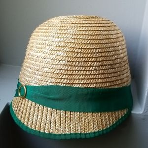 Staw and ribbon summer hat